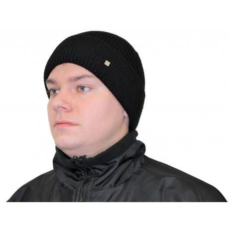 Шапка вязанная с отворотом подкладка флис