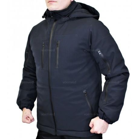Куртка зимняя SoftShell Outdoor Black на синтепоне